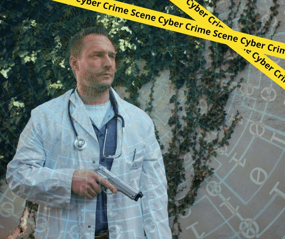 Schauspieler verkleidet mit Kittel und Waffe in der Hand