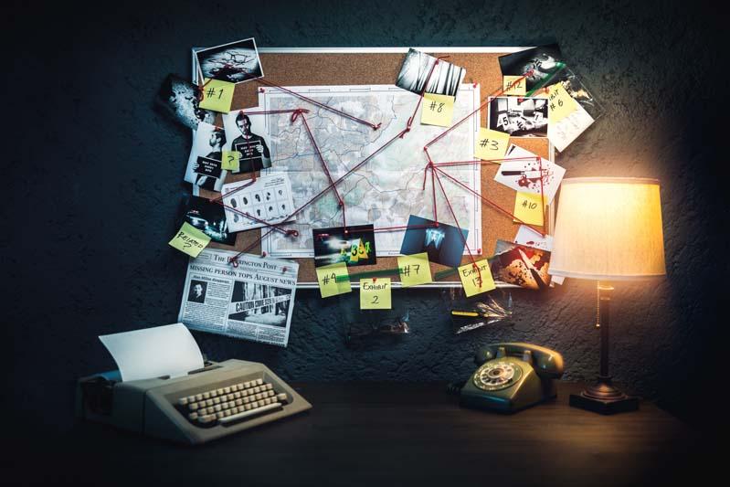 Beweisboard Detektiv online Stadtkrimi
