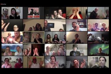 Zoomchat mit vielen Teilnehmern zum Online-Krimi